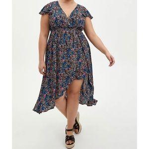 🆕 Black Floral Crinkle Gauze Step-Thru Midi Dress